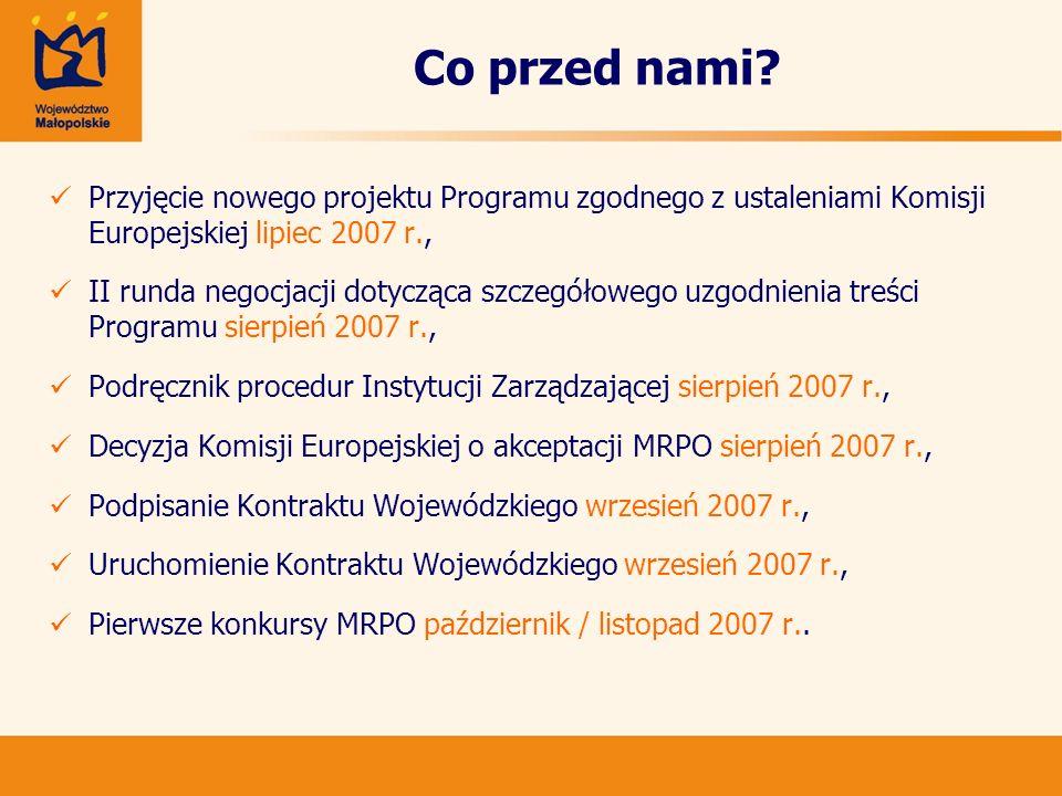 Co przed nami? Przyjęcie nowego projektu Programu zgodnego z ustaleniami Komisji Europejskiej lipiec 2007 r., II runda negocjacji dotycząca szczegółow