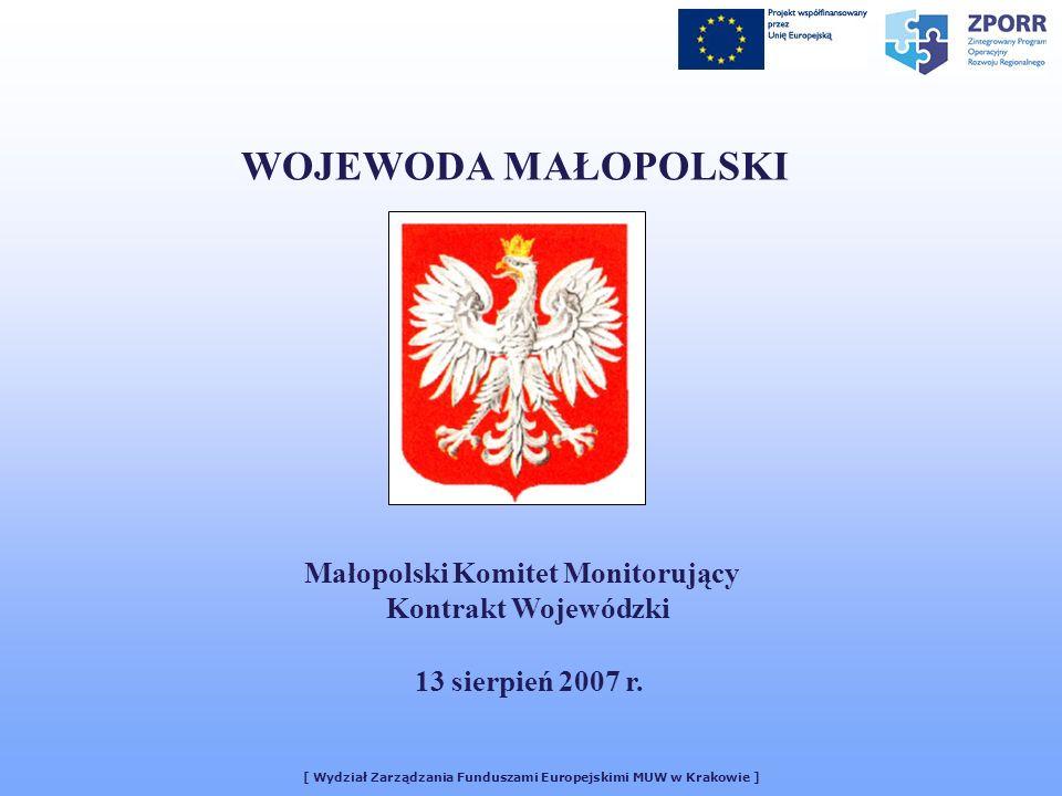 [ Wydział Zarządzania Funduszami Europejskimi MUW w Krakowie ] WOJEWODA MAŁOPOLSKI Małopolski Komitet Monitorujący Kontrakt Wojewódzki 13 sierpień 2007 r.
