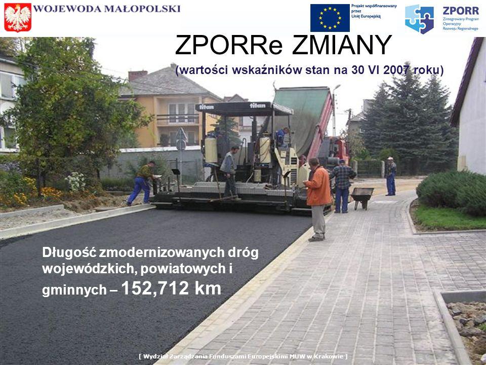ZPORRe ZMIANY (wartości wskaźników stan na 30 VI 2007 roku) Długość zmodernizowanych dróg wojewódzkich, powiatowych i gminnych – 152,712 km