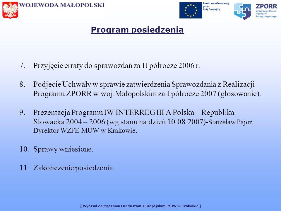 7.Przyjęcie erraty do sprawozdań za II półrocze 2006 r.