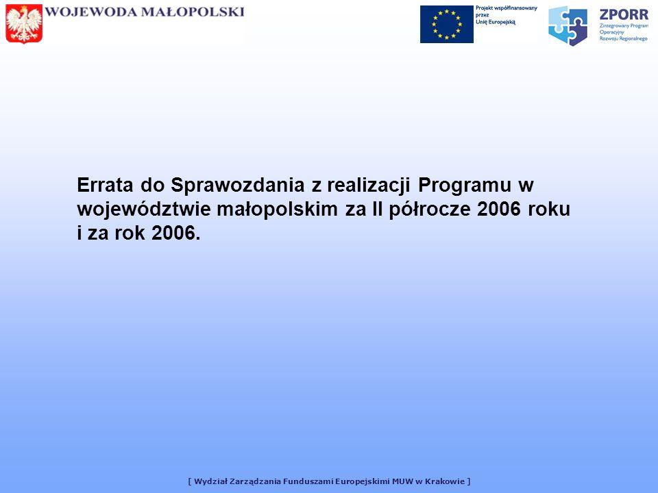 [ Wydział Zarządzania Funduszami Europejskimi MUW w Krakowie ] Errata do Sprawozdania z realizacji Programu w województwie małopolskim za II półrocze 2006 roku i za rok 2006.
