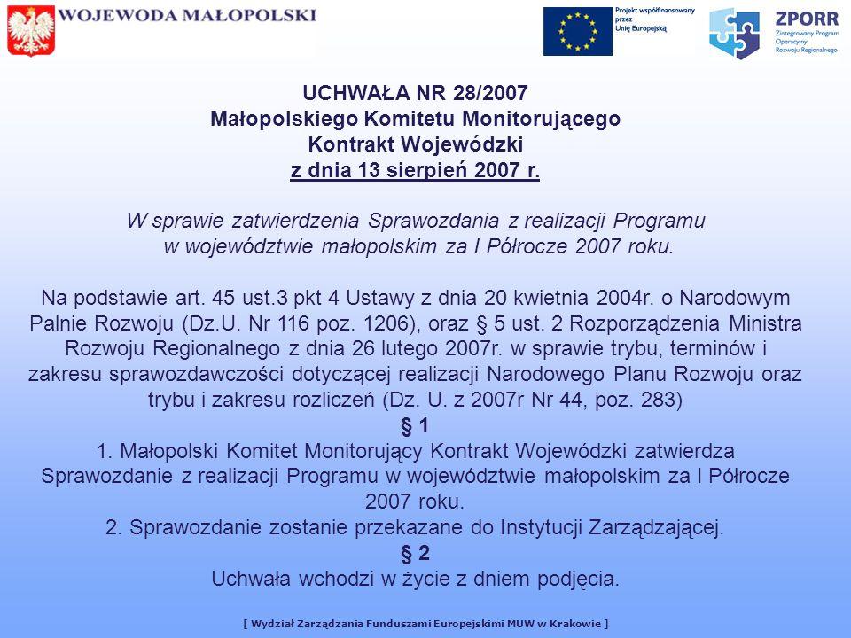 UCHWAŁA NR 28/2007 Małopolskiego Komitetu Monitorującego Kontrakt Wojewódzki z dnia 13 sierpień 2007 r.