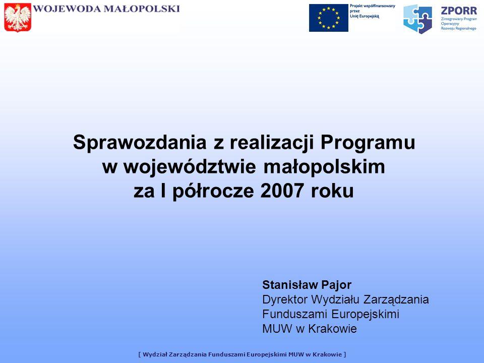 Sprawozdania z realizacji Programu w województwie małopolskim za I półrocze 2007 roku Stanisław Pajor Dyrektor Wydziału Zarządzania Funduszami Europejskimi MUW w Krakowie