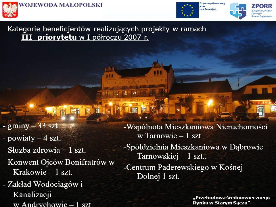 Kategorie beneficjentów realizujących projekty w ramach III priorytetu w I półroczu 2007 r.