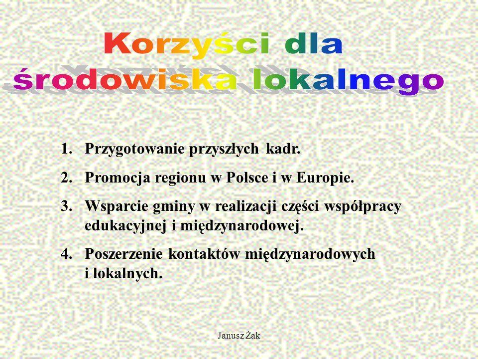Janusz Żak 1.Przygotowanie przyszłych kadr. 2.Promocja regionu w Polsce i w Europie.