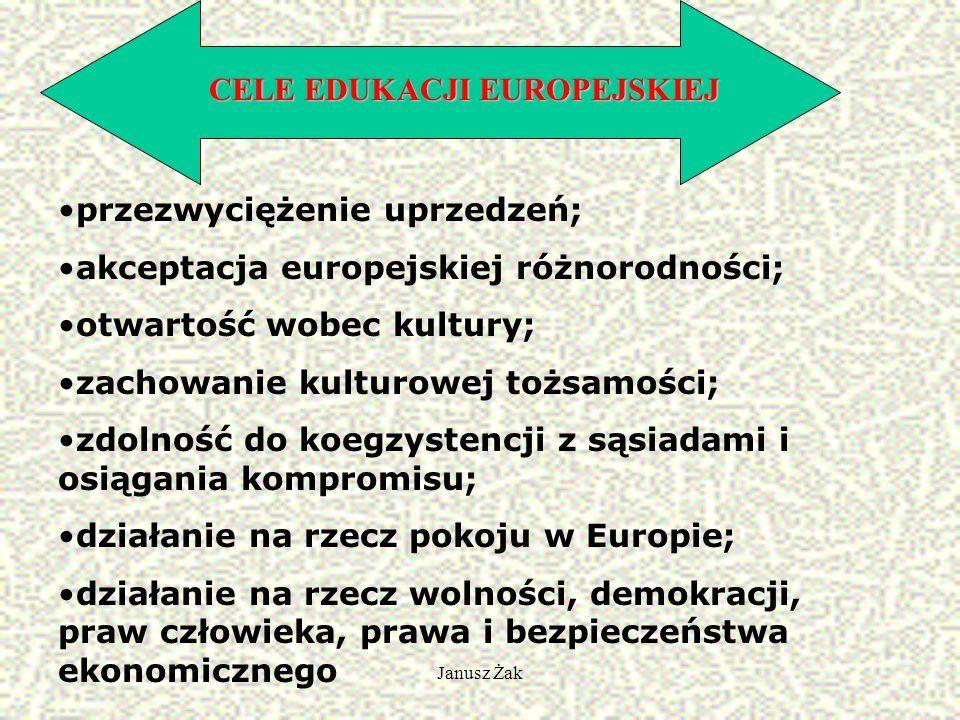 Janusz Żak CELE EDUKACJI EUROPEJSKIEJ przezwyciężenie uprzedzeń; akceptacja europejskiej różnorodności; otwartość wobec kultury; zachowanie kulturowej tożsamości; zdolność do koegzystencji z sąsiadami i osiągania kompromisu; działanie na rzecz pokoju w Europie; działanie na rzecz wolności, demokracji, praw człowieka, prawa i bezpieczeństwa ekonomicznego
