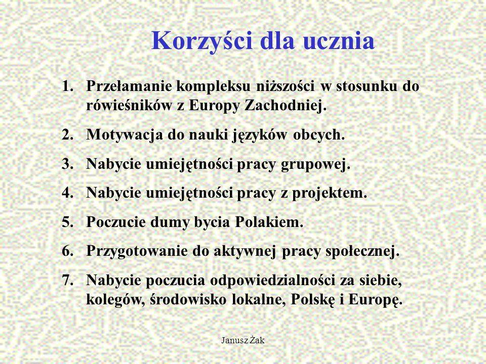 Janusz Żak Korzyści dla ucznia 1.Przełamanie kompleksu niższości w stosunku do rówieśników z Europy Zachodniej.