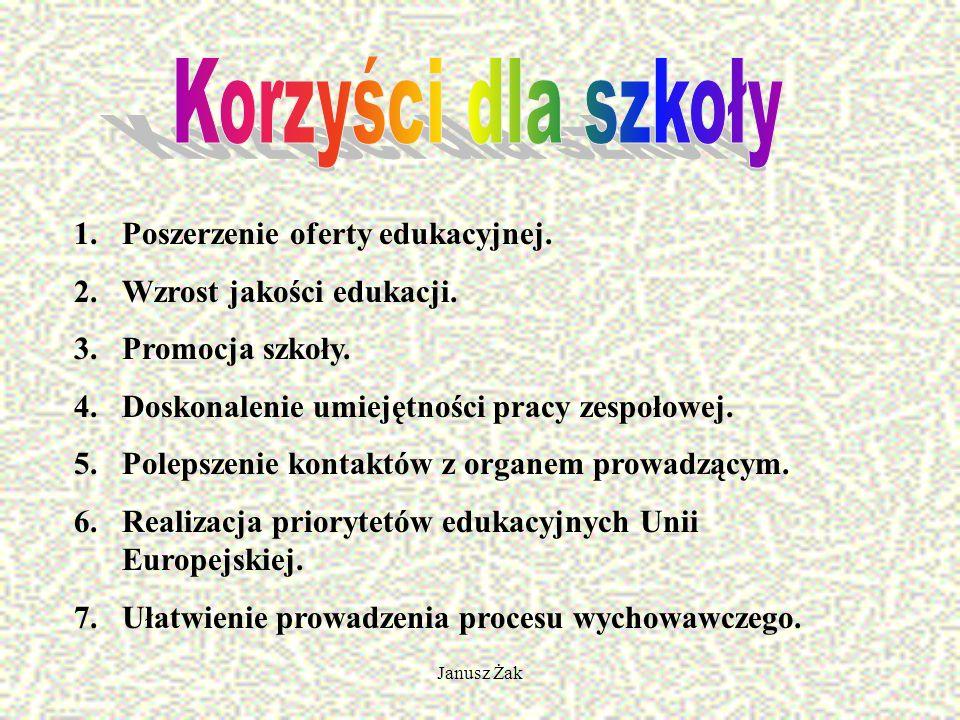 Janusz Żak 1.Poszerzenie oferty edukacyjnej. 2.Wzrost jakości edukacji.