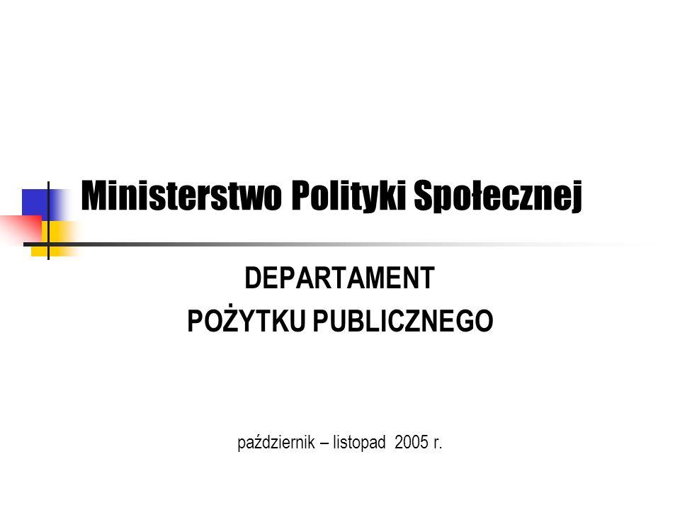 Ministerstwo Polityki Społecznej DEPARTAMENT POŻYTKU PUBLICZNEGO październik – listopad 2005 r.