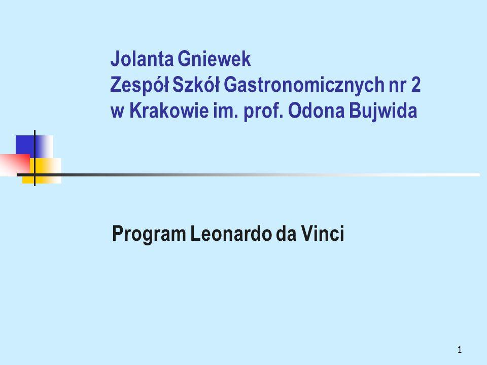 1 Jolanta Gniewek Zespół Szkół Gastronomicznych nr 2 w Krakowie im. prof. Odona Bujwida Program Leonardo da Vinci