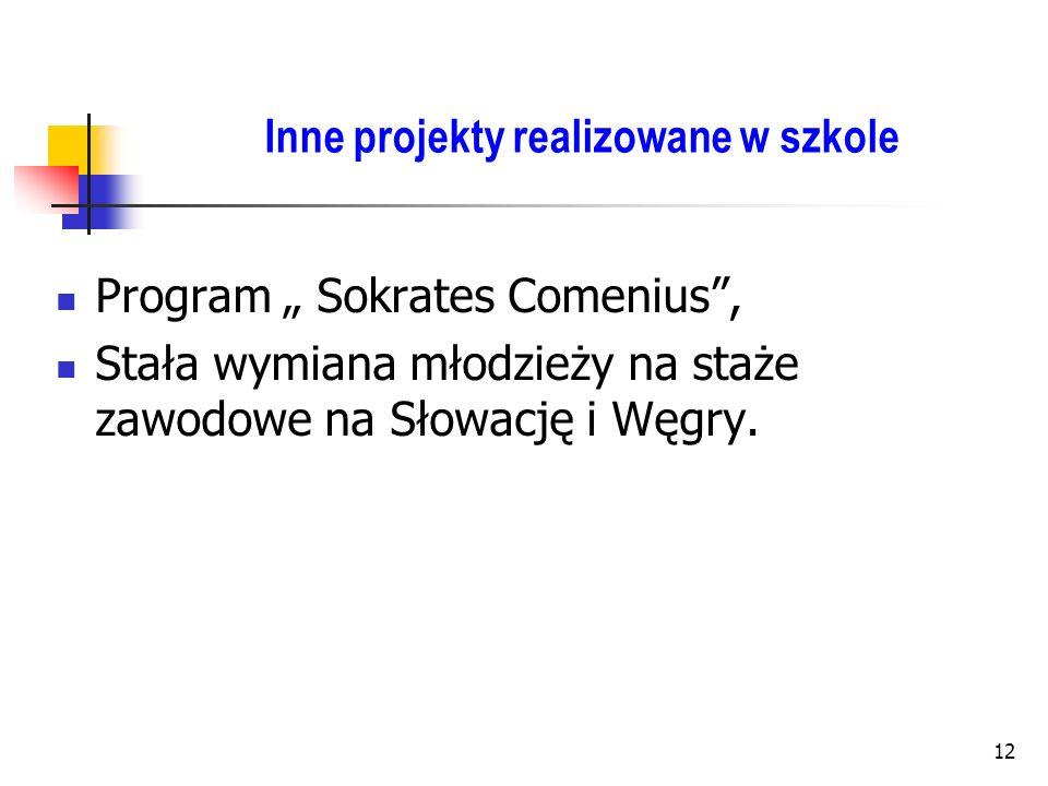 12 Inne projekty realizowane w szkole Program Sokrates Comenius, Stała wymiana młodzieży na staże zawodowe na Słowację i Węgry.