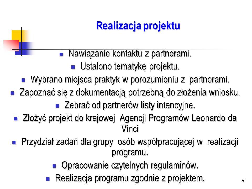 5 Realizacja projektu Nawiązanie kontaktu z partnerami. Nawiązanie kontaktu z partnerami. Ustalono tematykę projektu. Ustalono tematykę projektu. Wybr