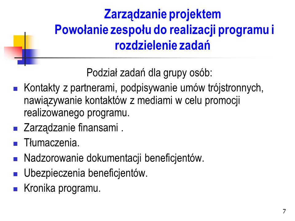 7 Zarządzanie projektem Powołanie zespołu do realizacji programu i rozdzielenie zadań Podział zadań dla grupy osób: Kontakty z partnerami, podpisywani