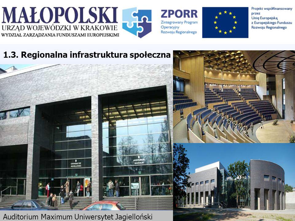 Auditorium Maximum Uniwersytet Jagielloński 1.3. Regionalna infrastruktura społeczna