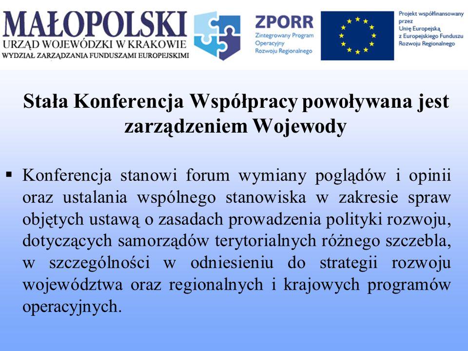 Stała Konferencja Współpracy powoływana jest zarządzeniem Wojewody Konferencja stanowi forum wymiany poglądów i opinii oraz ustalania wspólnego stanow