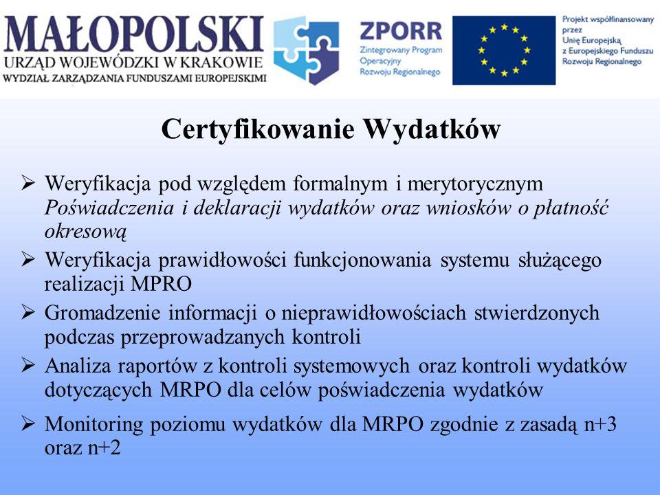 Certyfikowanie Wydatków Weryfikacja pod względem formalnym i merytorycznym Poświadczenia i deklaracji wydatków oraz wniosków o płatność okresową Weryf