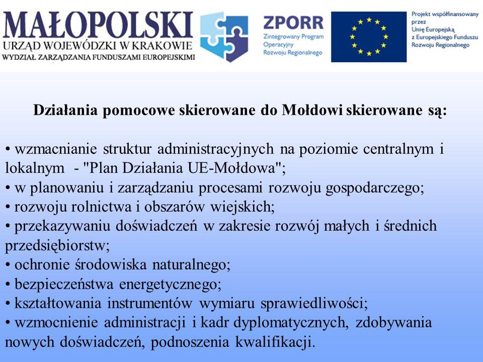 Działania pomocowe skierowane do Mołdowi skierowane są: wzmacnianie struktur administracyjnych na poziomie centralnym i lokalnym -
