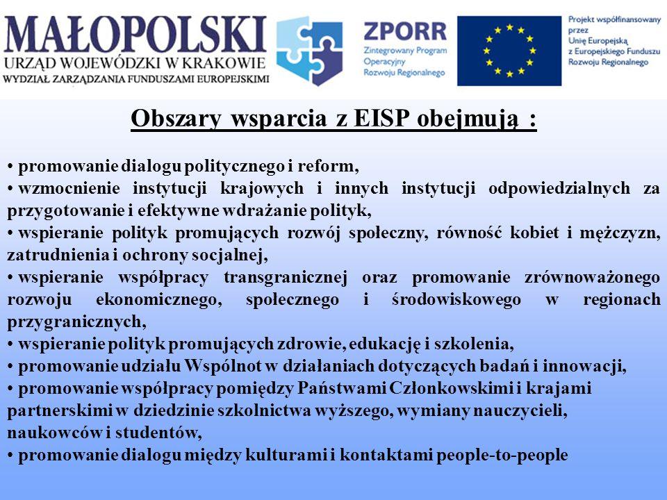Obszary wsparcia z EISP obejmują : promowanie dialogu politycznego i reform, wzmocnienie instytucji krajowych i innych instytucji odpowiedzialnych za