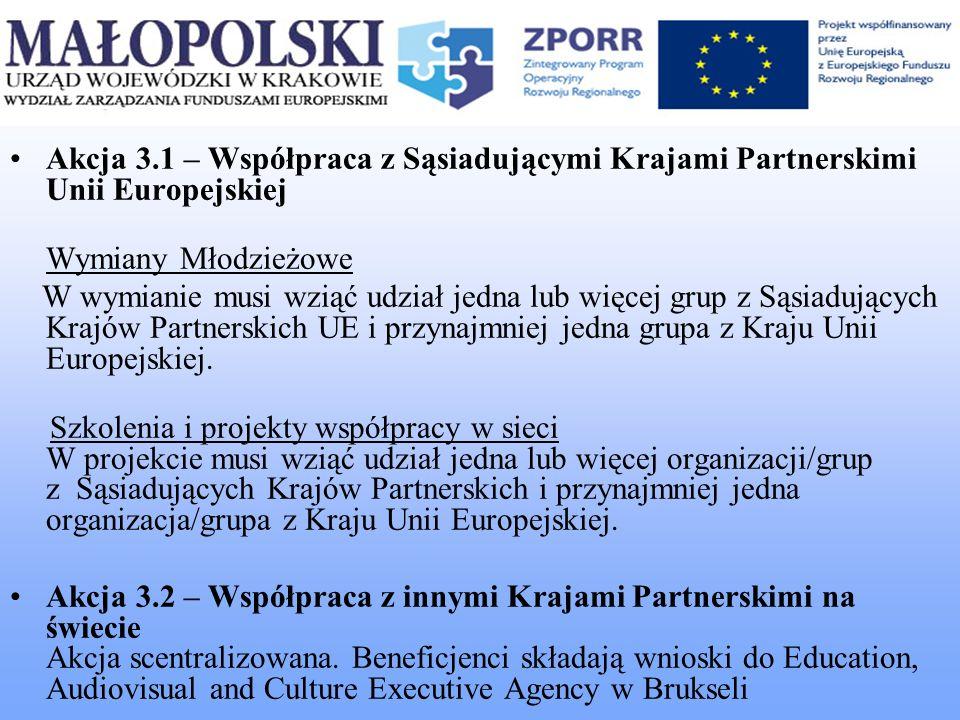 Akcja 3.1 – Współpraca z Sąsiadującymi Krajami Partnerskimi Unii Europejskiej Wymiany Młodzieżowe W wymianie musi wziąć udział jedna lub więcej grup z