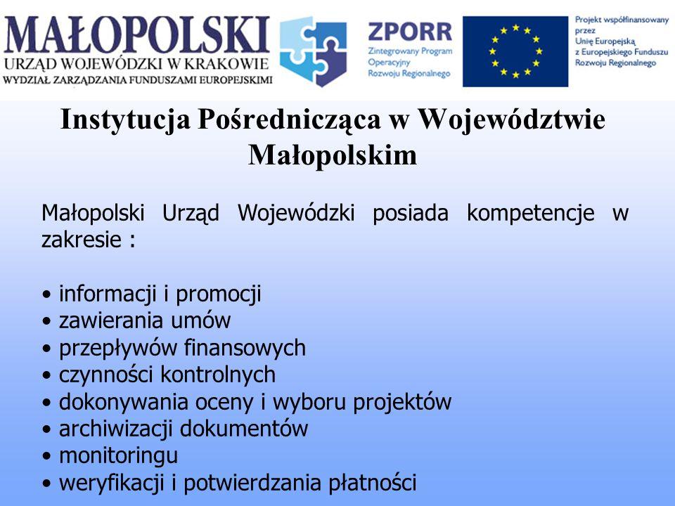 Instytucja Pośrednicząca w Województwie Małopolskim Małopolski Urząd Wojewódzki posiada kompetencje w zakresie : informacji i promocji zawierania umów