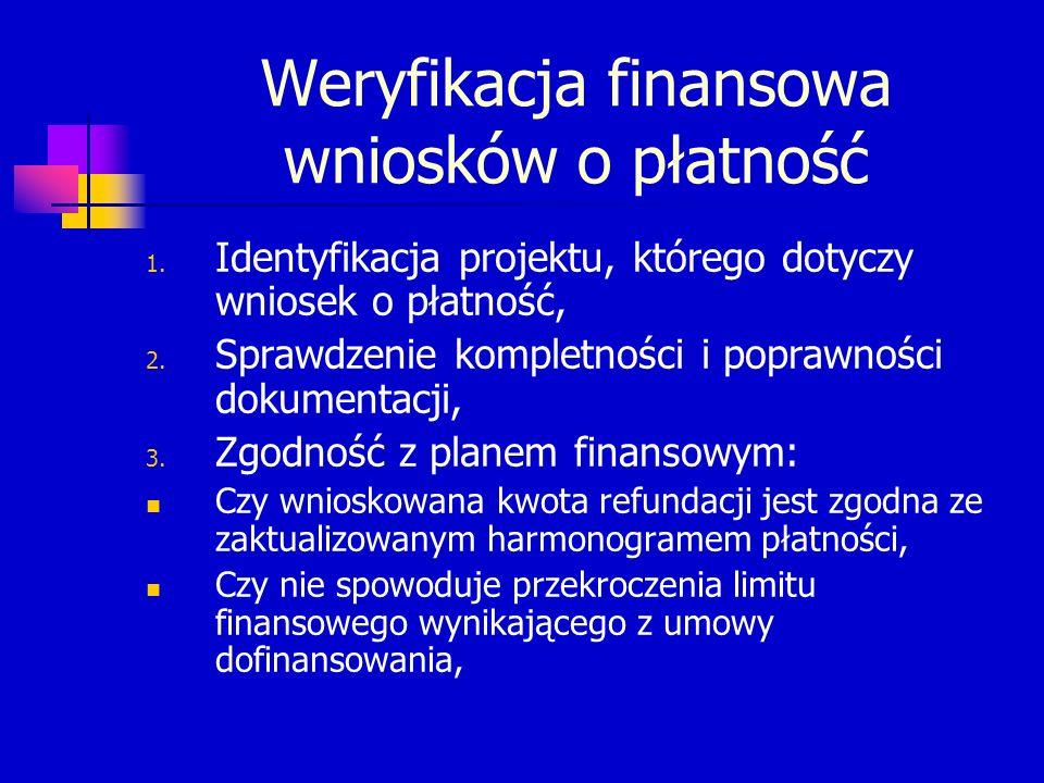 Kontrola finansowa na miejscu Czy zastosowano właściwą klasyfikację wydatków, Czy została zachowana właściwa proporcja źródeł finansowania, Czy faktury/inne dokumenty o równorzędnej wartości dowodowej zostały zapłacone zgodnie z wyciągami bankowymi.