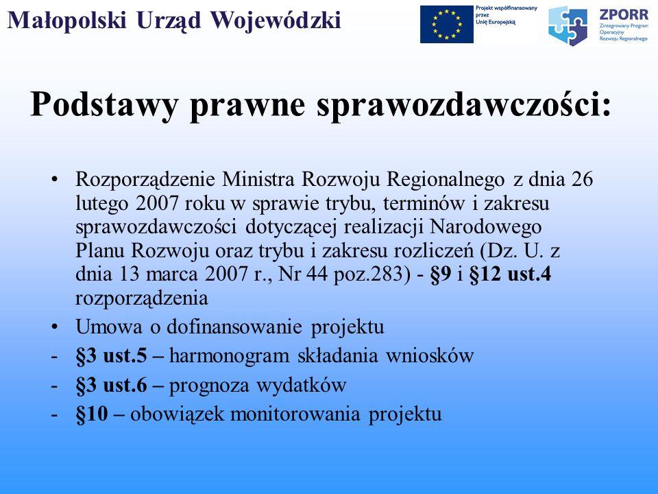 Małopolski Urząd Wojewódzki Podstawy prawne sprawozdawczości: Rozporządzenie Ministra Rozwoju Regionalnego z dnia 26 lutego 2007 roku w sprawie trybu,