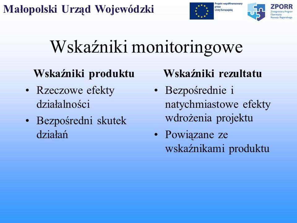 Małopolski Urząd Wojewódzki Wskaźniki monitoringowe Wskaźniki produktu Rzeczowe efekty działalności Bezpośredni skutek działań Wskaźniki rezultatu Bez