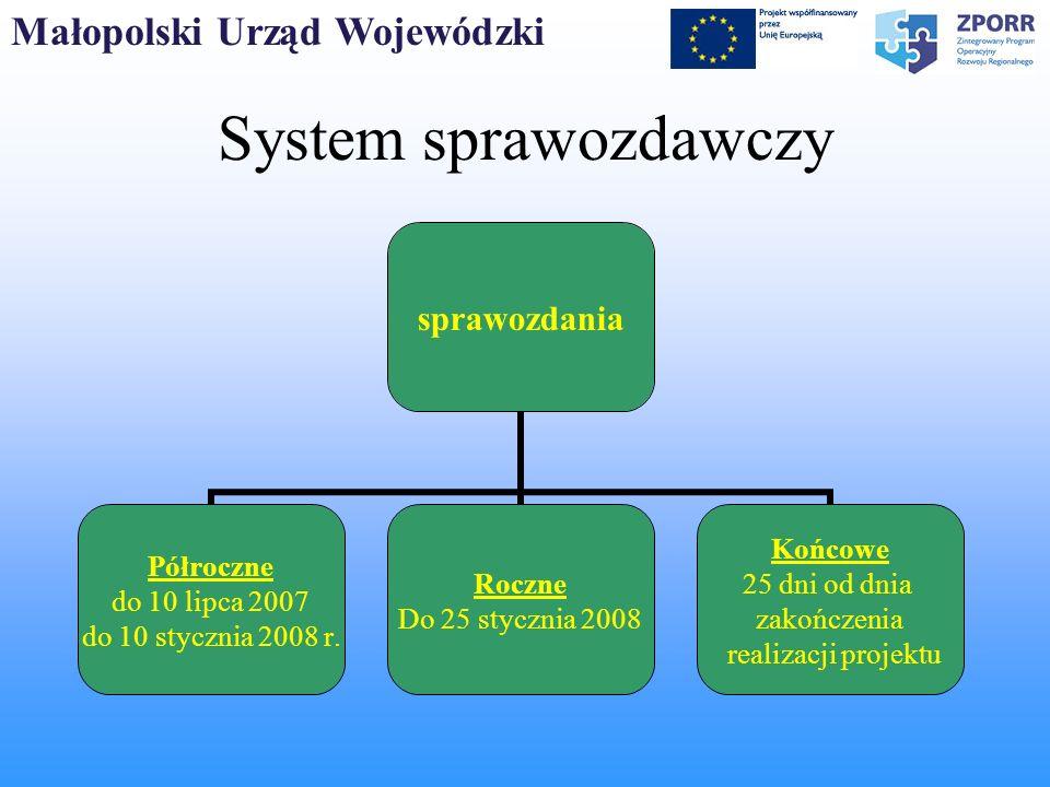 Małopolski Urząd Wojewódzki System sprawozdawczy sprawozdania Półroczne do 10 lipca 2007 do 10 stycznia 2008 r. Roczne Do 25 stycznia 2008 Końcowe 25