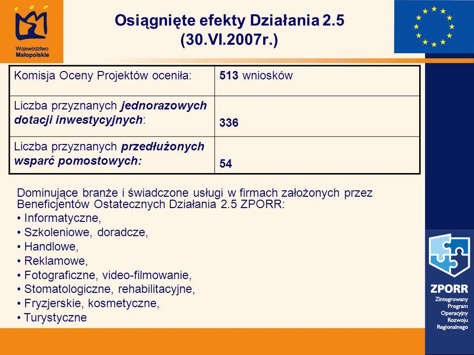 Osiągnięte efekty Działania 2.5 (30.VI.2007r.) Komisja Oceny Projektów oceniła:513 wniosków Liczba przyznanych jednorazowych dotacji inwestycyjnych: 336 Liczba przyznanych przedłużonych wsparć pomostowych: 54 Dominujące branże i świadczone usługi w firmach założonych przez Beneficjentów Ostatecznych Działania 2.5 ZPORR: Informatyczne, Szkoleniowe, doradcze, Handlowe, Reklamowe, Fotograficzne, video-filmowanie, Stomatologiczne, rehabilitacyjne, Fryzjerskie, kosmetyczne, Turystyczne