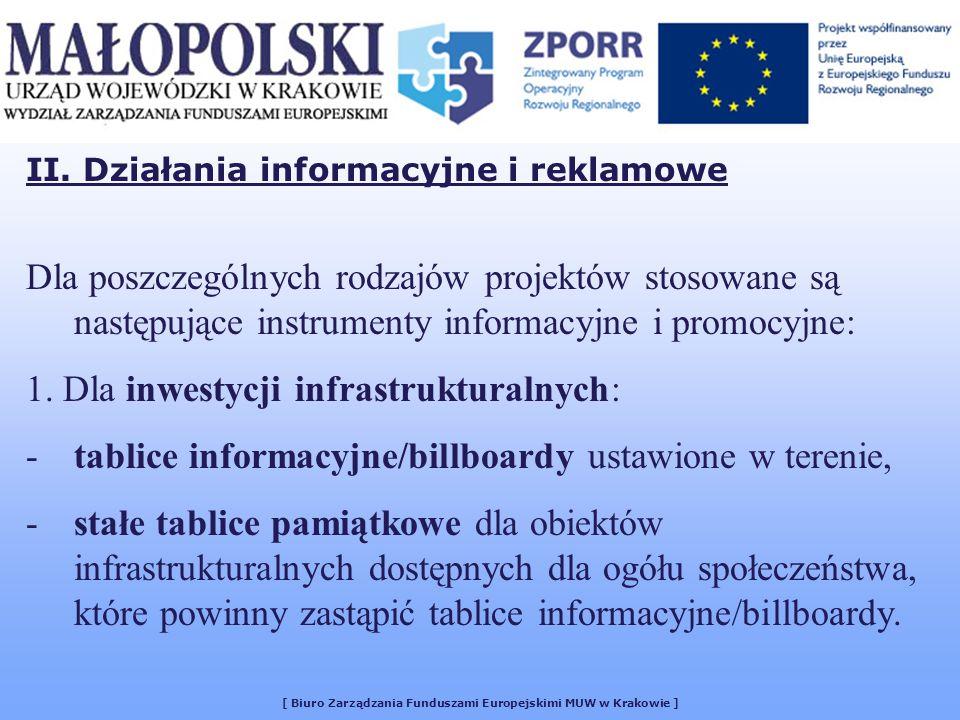[ Biuro Zarządzania Funduszami Europejskimi MUW w Krakowie ] Dla poszczególnych rodzajów projektów stosowane są następujące instrumenty informacyjne i promocyjne: 1.