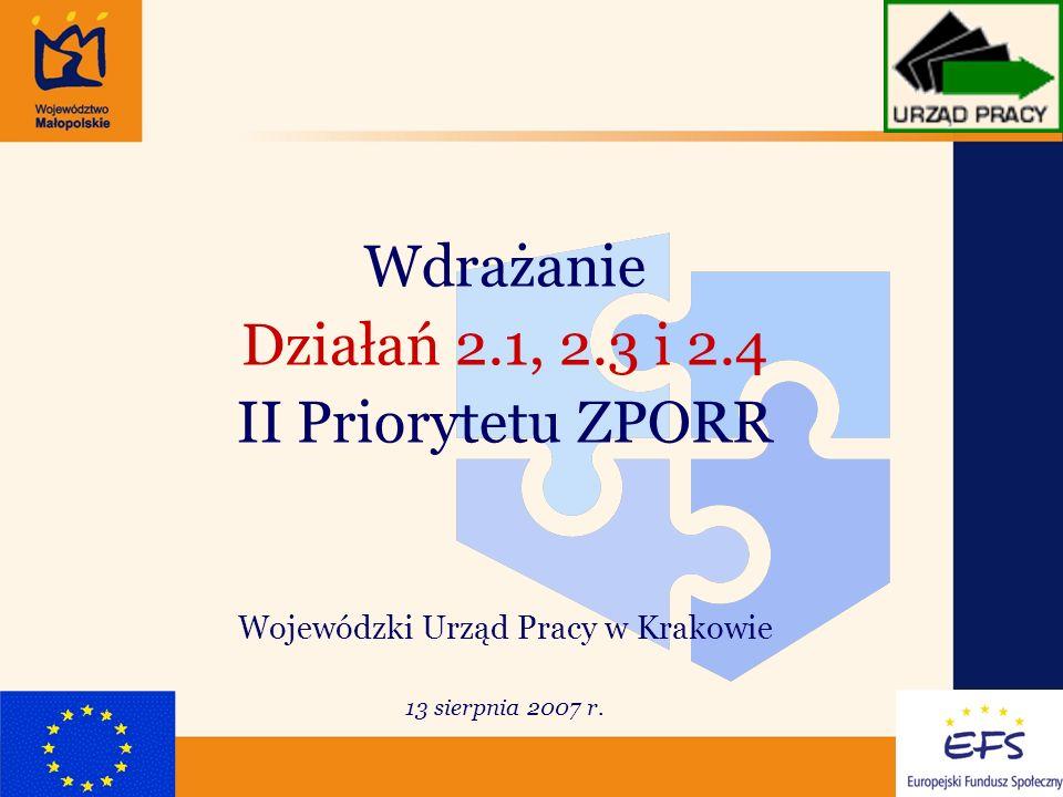 1 Wdrażanie Działań 2.1, 2.3 i 2.4 II Priorytetu ZPORR Wojewódzki Urząd Pracy w Krakowie 13 sierpnia 2007 r.