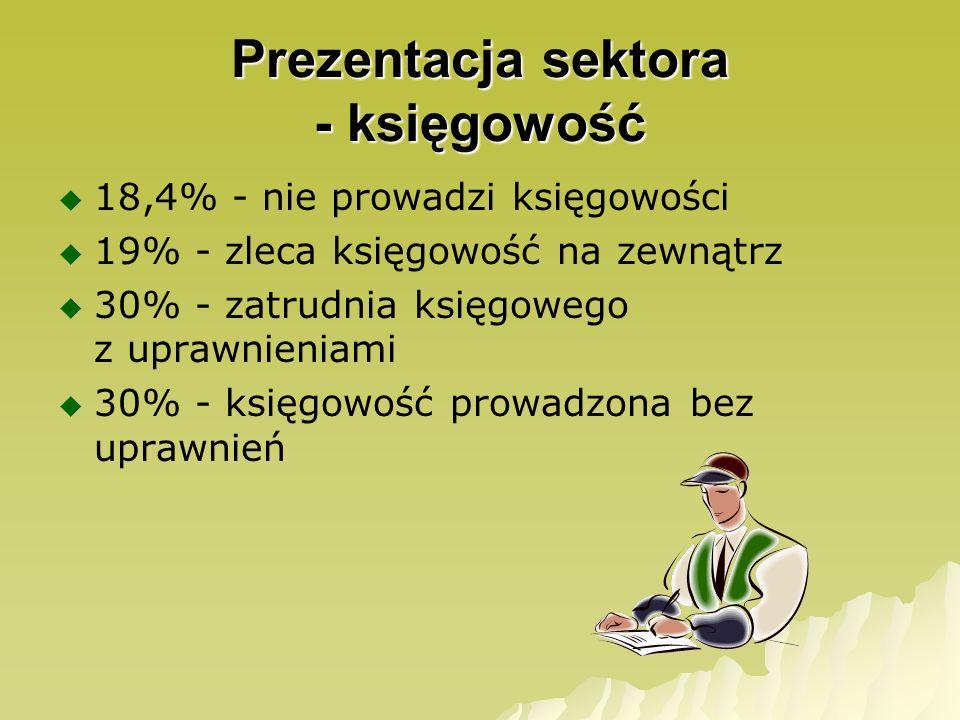 Prezentacja sektora - księgowość 18,4% - nie prowadzi księgowości 19% - zleca księgowość na zewnątrz 30% - zatrudnia księgowego z uprawnieniami 30% -
