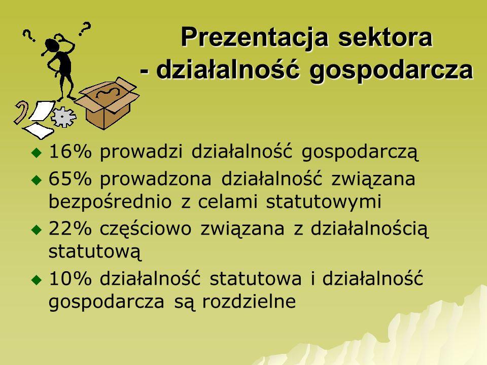 Prezentacja sektora - działalność gospodarcza 16% prowadzi działalność gospodarczą 65% prowadzona działalność związana bezpośrednio z celami statutowy