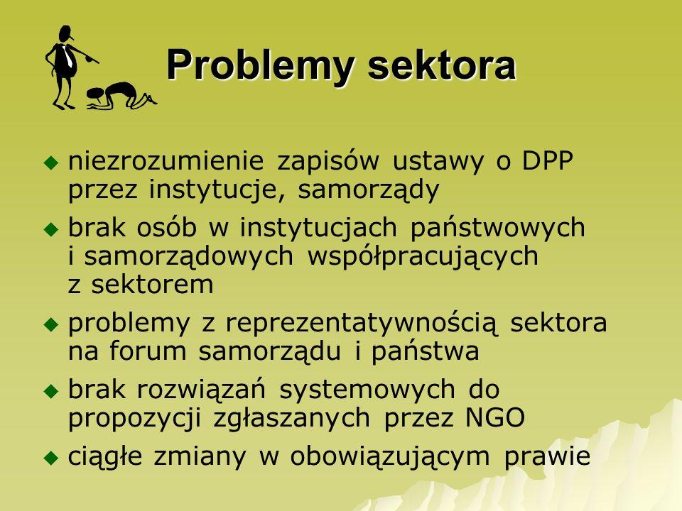 Problemy sektora niezrozumienie zapisów ustawy o DPP przez instytucje, samorządy brak osób w instytucjach państwowych i samorządowych współpracujących