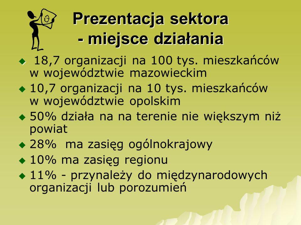 Prezentacja sektora - miejsce działania 18,7 organizacji na 100 tys. mieszkańców w województwie mazowieckim 10,7 organizacji na 10 tys. mieszkańców w