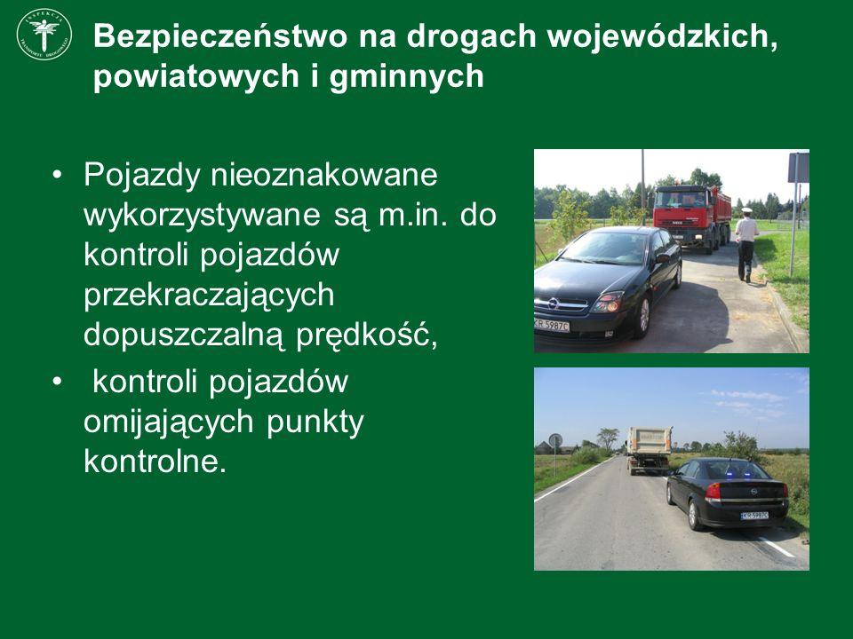 Bezpieczeństwo na drogach wojewódzkich, powiatowych i gminnych Pojazdy nieoznakowane wykorzystywane są m.in. do kontroli pojazdów przekraczających dop