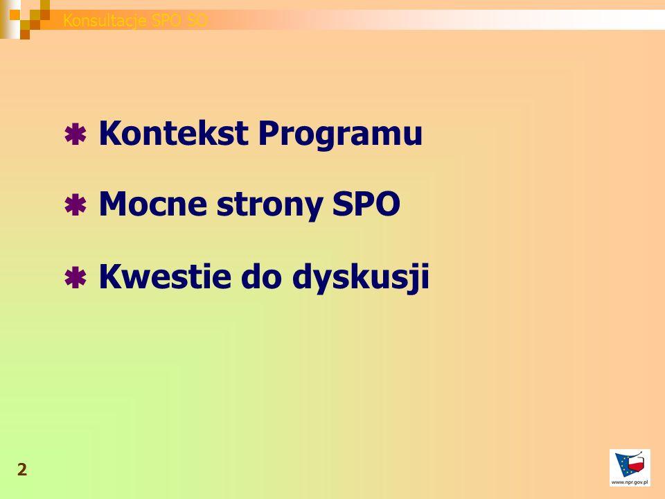Kontekst Programu Mocne strony SPO Kwestie do dyskusji 2 Konsultacje SPO SO