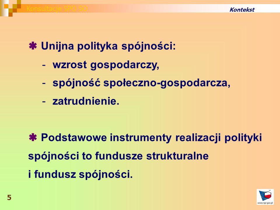 Kontekst Unijna polityka spójności: -wzrost gospodarczy, -spójność społeczno-gospodarcza, -zatrudnienie.