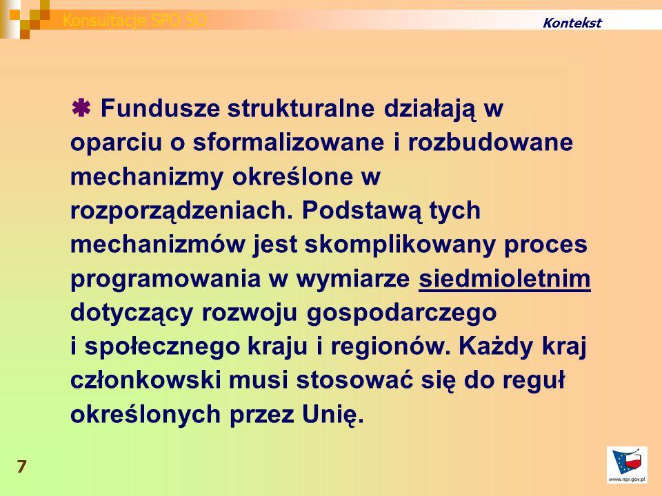 Kontekst Fundusze strukturalne działają w oparciu o sformalizowane i rozbudowane mechanizmy określone w rozporządzeniach.