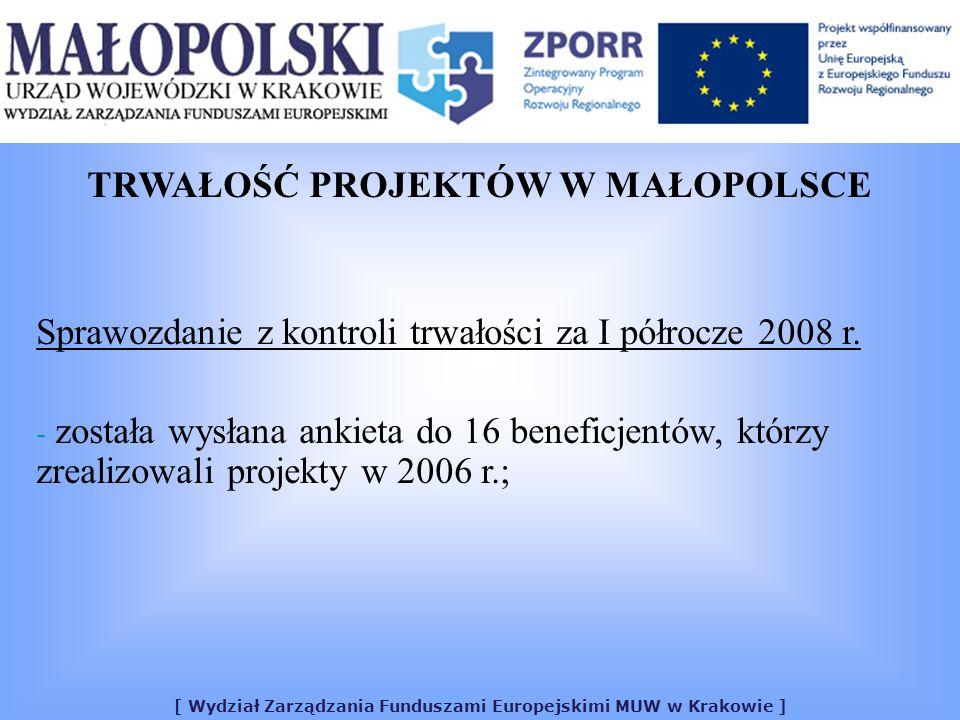 [ Wydział Zarządzania Funduszami Europejskimi MUW w Krakowie ] TRWAŁOŚĆ PROJEKTÓW W MAŁOPOLSCE Sprawozdanie z kontroli trwałości za I półrocze 2008 r.