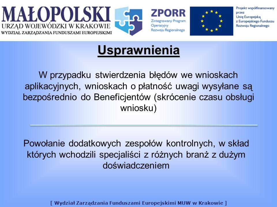 [ Wydział Zarządzania Funduszami Europejskimi MUW w Krakowie ] Usprawnienia Powołanie dodatkowych zespołów kontrolnych, w skład których wchodzili specjaliści z różnych branż z dużym doświadczeniem W przypadku stwierdzenia błędów we wnioskach aplikacyjnych, wnioskach o płatność uwagi wysyłane są bezpośrednio do Beneficjentów (skrócenie czasu obsługi wniosku)