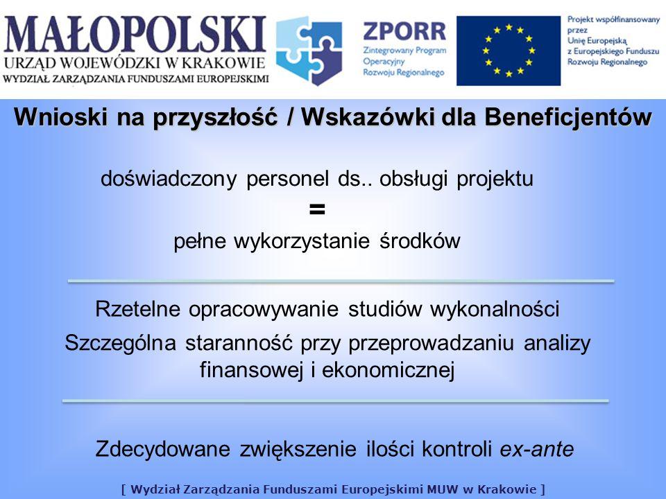 [ Wydział Zarządzania Funduszami Europejskimi MUW w Krakowie ] doświadczony personel ds.. obsługi projektu = pełne wykorzystanie środków Rzetelne opra