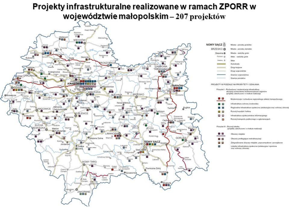 [ Wydział Zarządzania Funduszami Europejskimi MUW w Krakowie ] Projekty infrastrukturalne realizowane w ramach ZPORR w województwie małopolskim – 207 projektów