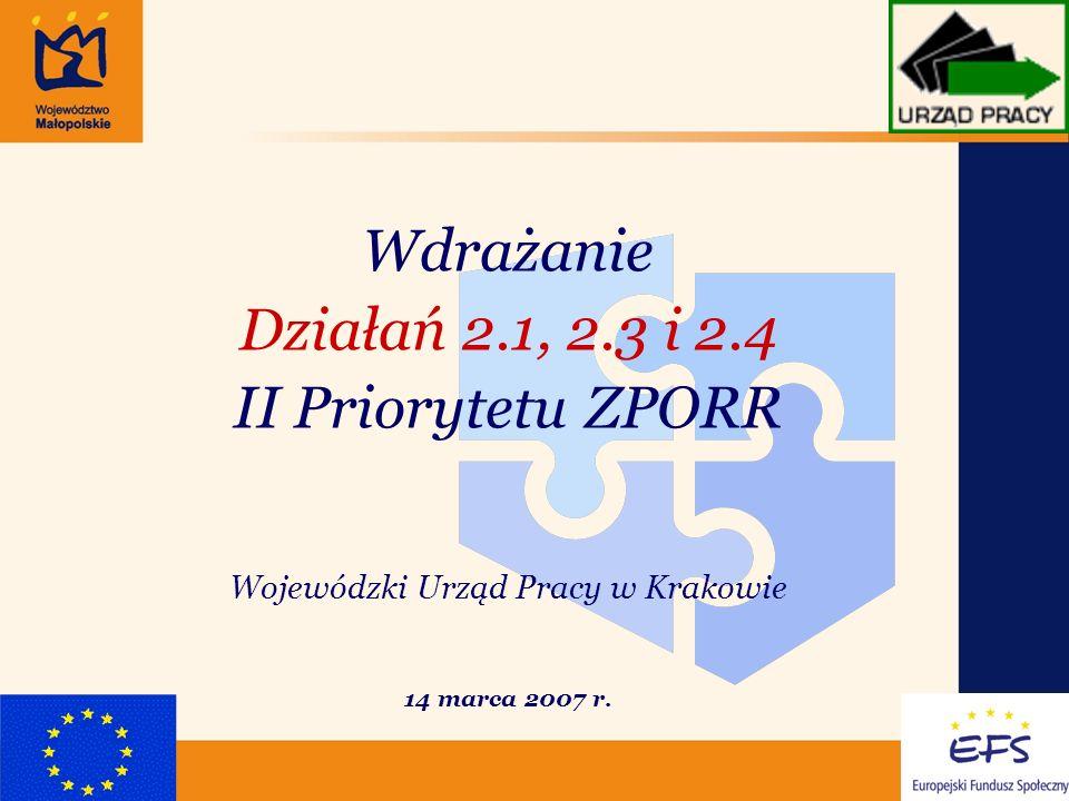 1 Wdrażanie Działań 2.1, 2.3 i 2.4 II Priorytetu ZPORR Wojewódzki Urząd Pracy w Krakowie 14 marca 2007 r.