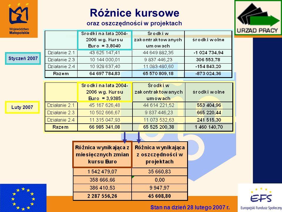 3 Różnice kursowe oraz oszczędności w projektach Stan na dzień 28 lutego 2007 r. Styczeń 2007 Luty 2007