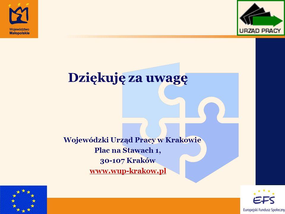 7 Dziękuję za uwagę Wojewódzki Urząd Pracy w Krakowie Plac na Stawach 1, 30-107 Kraków www.wup-krakow.pl