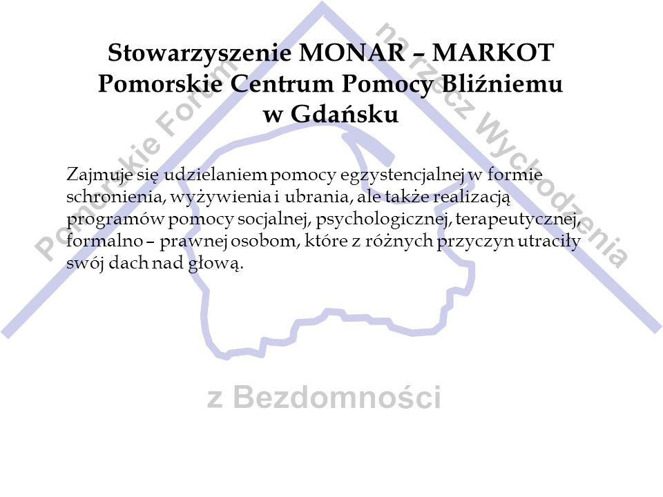 Stowarzyszenie MONAR – MARKOT Pomorskie Centrum Pomocy Bliźniemu w Gdańsku Zajmuje się udzielaniem pomocy egzystencjalnej w formie schronienia, wyżywi