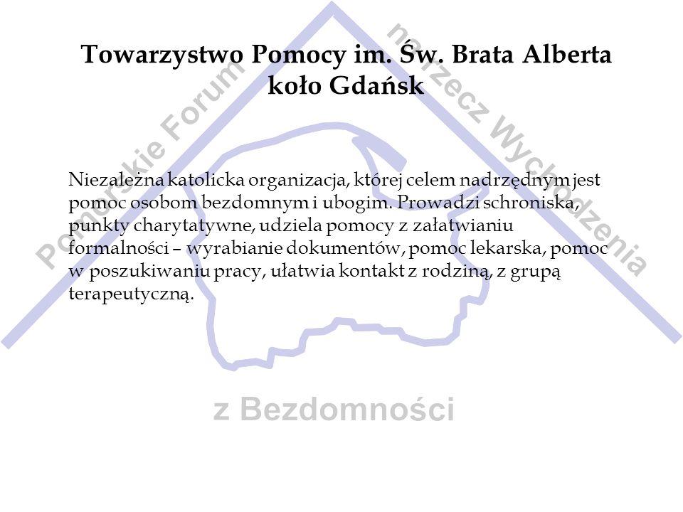 Towarzystwo Pomocy im. Św. Brata Alberta koło Gdańsk Niezależna katolicka organizacja, której celem nadrzędnym jest pomoc osobom bezdomnym i ubogim. P