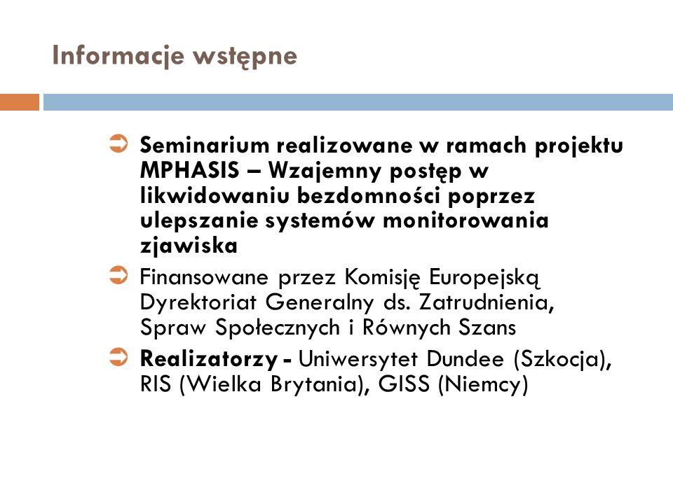 Informacje wstępne Seminarium realizowane w ramach projektu MPHASIS – Wzajemny postęp w likwidowaniu bezdomności poprzez ulepszanie systemów monitorow