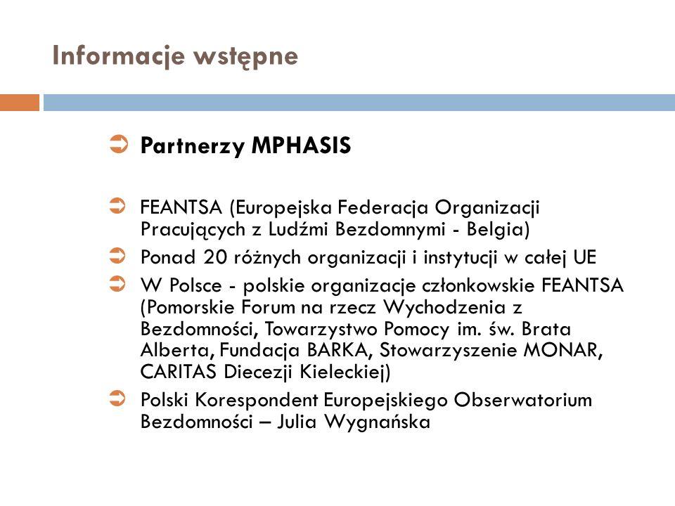 Informacje wstępne Partnerzy MPHASIS FEANTSA (Europejska Federacja Organizacji Pracujących z Ludźmi Bezdomnymi - Belgia) Ponad 20 różnych organizacji